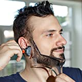 Beard Shaping Tool - Transparent Template for Shaving with Hair Clipper, Trimmer or Razor - Get Your Perfect Facial Hair Design - Symmetric Cheeks, Mustache, Goatee, Sideburns and Neckline