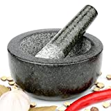 H&S Pestle and Mortar Set Premium Solid Granite Stone Large Black - 16cm(6.3') Diameter