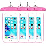 [4Pack] Blue Universal Waterproof Case, CaseHQ CellPhone Dry Bag Pouch for Apple iPhone 8,8plus,7,7plus,6s 6,6S Plus,7 SE 5S, Samsung Galaxy s8 s8 plus,S7, S6 Note 5 4, HTC LG Nokiaup to 5.8 diagonal
