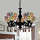 Tiffany Style Chandeliers 5 Heads Vintage Little Bird Stained Glass 6 Inch Shade LED Hanging Lights Inverted Ceiling Pendant Lamp for Living Room