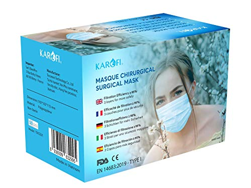 KAROFI - Mascherine Chirurgiche TIPO I MEDICO, testate e approvate, BFE ≥ 95%, 3 strati, certificate CE EN 14683: 2019, pacco da 50