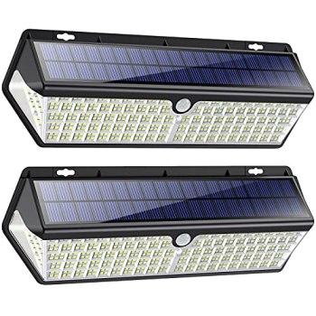 418 LED Lampe Solaire Extérieur【3500LM 4400mAh Puissante éclairage avec Charge USB】Détecteur de Mouvement éclairage Solaire Spot sans Fil Extérieur Lumières Imperméable Sécurité Jardin Lampe - 2 Pack
