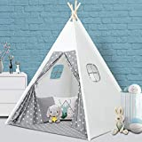 wilwolfer Kids Teepee Play Tent for Child with Carry Case + Two Windows, Portable Children Toys or Gift for Kids Boys Girls Indoor and Outdoor Play