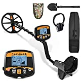 13' Professional Metal Detector for Adults, High Sensitivity Metal Detector PinPointer, Gold Detector with Discrimination Mode LCD Backlight Display Waterproof Search Coil Audio Prompt & Headphone