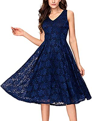 Style: elegant fit & flare tea length semi-formal party dress for any special occasions. Occasion: wedding guest, evening, garden party, dinner, reception, dancing party, birthday,hosting, bridesmaid Floral lace ovelay, below the knees,side zipper, v...