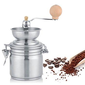 Moulin à café manuel en acier inoxydable, outil à main pour moulins, pour grains de café, épices, noix, graines, herbes, graines de citrouille, etc. (argent)