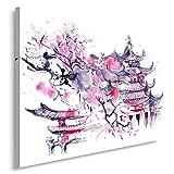 Feeby Frames, Tableau imprimé XXL, Tableau imprimé sur Toile, Tableau Deco, Canvas 70x100 cm, Cerisier Japonais, Abstraction, Violet