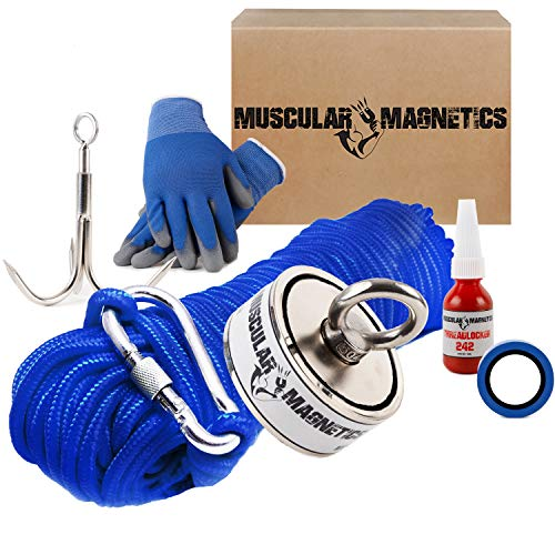1225lb Double Sided Fishing Magnet Bundle Pack - Includes 6mm 100ft...