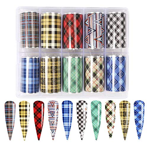 Nail Art Foil Transfer Stickers, Buffalo Plaid Design Nail Foil Adhesive Decals, Christmas Decals Foil Stickers Set Nail Tips Manicure Women and Girls Nail Art DIY (10 Rolls Mix Styles)