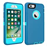 iPhone 6/6S Case Shockproof High Impact Tough Rubber Rugged Hybrid Case Silicone Triple Protective Anti-Shock Shatter-Resistant Mobile Phone Case for iPhone 6/6S4.7' (LtBlue)