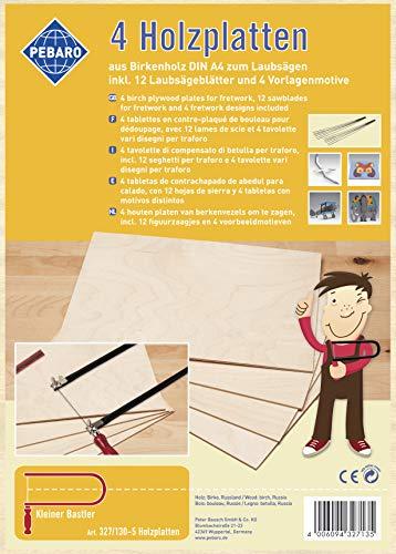 Pebaro 327/130-5 Birkensperrholzplatten mit Laubsägeblättern und Motivvorlagen, DIN A4