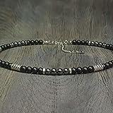 Collier Homme Taille 45-50cm perles Ø 6mm pierre gemme Agate Noir Hématite -...