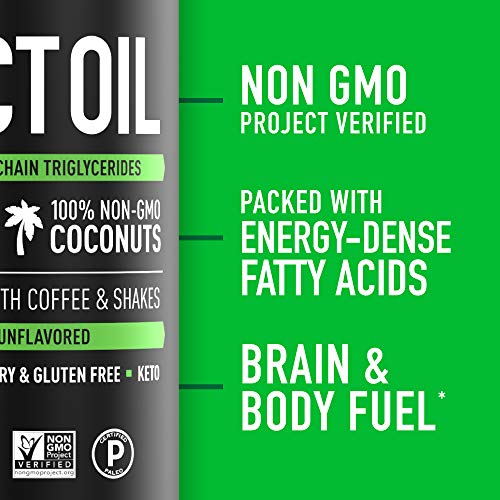 Premium MCT Oil derived only from Non-GMO Coconuts - 16oz BPA free bottle | Great in Keto Coffee,Tea, Smoothies & Salad Dressings | Non-GMO Project Verified & Vegan Certified (Unflavored) 2