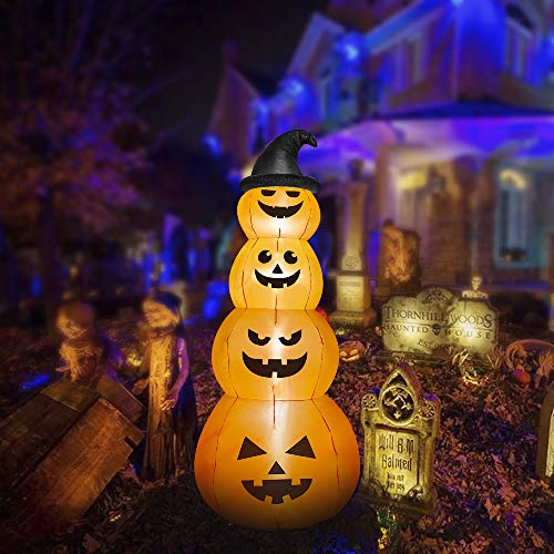 HOOJO 8 FT Halloween Inflatables Stacked Pumpkins with Witches Hat Outdoor Halloween Decorations with Build-in LEDs, Blow up Halloween Decorations for Yard, Garden, and Lawn