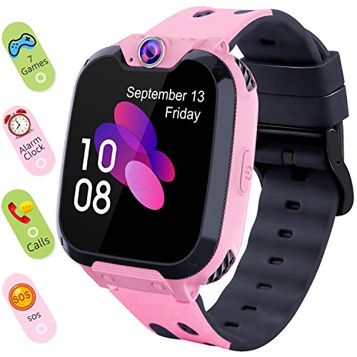 Smart Watch for Kids Boys Girls - Touch Screen Game Smartwatch with Call SOS Camera 7 Games Alarm Clock Music Player Record for Children Birthday Gifts 4-10 Kids Phone Watch with 1GB SD Card (Pink)