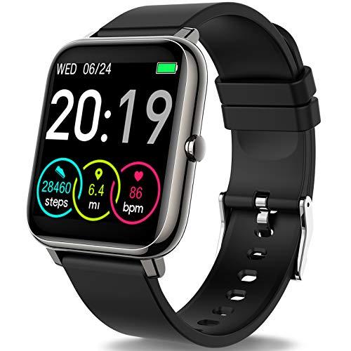 Smartwatch, Rinsmola Fitnessuhr 1.4 Zoll Voll Touchscreen Fitness Tracker mit Pulsmesser und Schlafanalyse, Musiksteuerung, Kamerasteuerung, Sport Armbanduhr für Damen Herren für iOS Android Handy