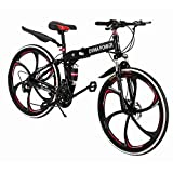 Sagton Outroad Mountain Bike, Outdoor Foldable Lightweight 21 Speed Gears 26'' Double Disc Brake Bicycle (Black)