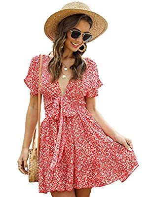 Boho short dress with deep v neck and ruffle hem design, show your fashion and casual style. Features: deep v neck, short sleeve, self tie front, floral printed, summer short dress for girl and women. High waist dress can match with chain, scarf, bea...