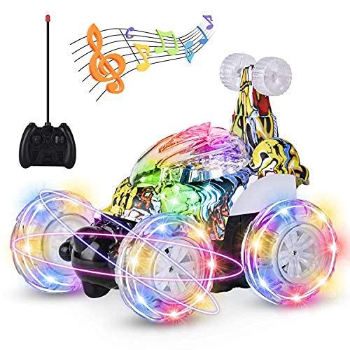 kiztoys Auto telecomandata, Doppia modalit, luci a LED per Auto da Corsa rotanti a 360 , Cavo USB, Interruttore Musicale Controllato, Giocattoli per la Guida di Auto per Bambini