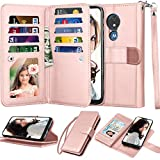 Moto G7 Play Wallet Case, Moto G7 Optimo (XT1952DL)/ T-Mobile Revvlry Case, Njjex [9 Card Slots] PU Leather ID Credit Holder Folio Flip [Detachable] Kickstand Magnetic Phone Cover & Lanyard [RoseGold]
