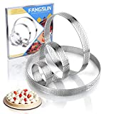 FANGSUN Round Perforated Tart Ring, Stainless Steel, 0.75 Inch High, 2.4 Inch, 4 inch, 6 inch, 8 inch in Diameter, Set of 4 (Plain Edge Set of 4 - O 2.4', 4', 6', 8')