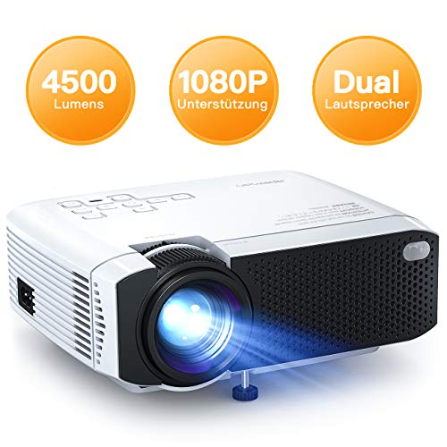 Beamer APEMAN Mini Beamer 4500 Lumen 1080p Full HD Kompatibel Tragbarer Projektor LED 45000 Stunden Heimkino Sport HDMI/SD/USB/TV Box/Chromecast/iOS/Android Handybeamer Mehrweg