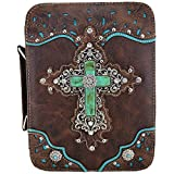 Western Style Bling Rhinestone Cross Country Women's Bible Cover Books Case Removable Strap Messenger Bag (Brown)