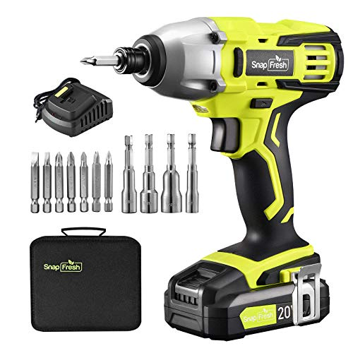 """Cordless Impact Driver Kit -20V MAX 1/4""""Impact Driver w/ 1350 In-Lbs Torque, Variable Speed 2200 RPM, Built-in LED - Carry Bag, 2.0 Ah Li-ion Battery, Charger, Driver Bits Set Included,Home Jobs"""