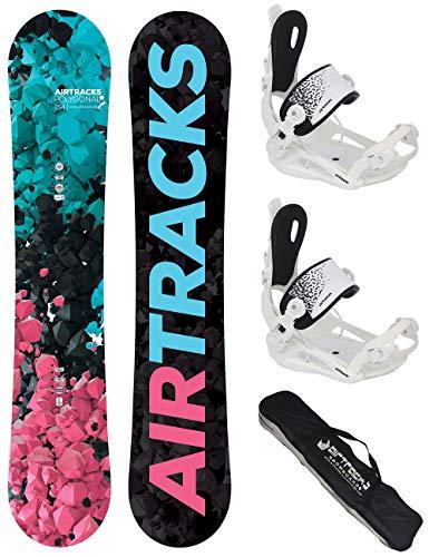 Airtracks Snowboard Set TAVOLA Polygonal Donna 144cm+ATTACCHI Master W M+Sacca/Nuovi