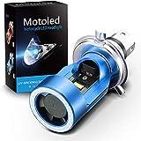 Ampoule H4 LED avec Yeux d'ange, Phare HS1 6400LM DC 12V pour Moto, Bleu,...