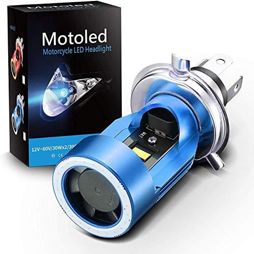 Lampadina per faro H4 a LED per moto, faro a LED HS1 Hi/Lo con occhio di angelo blu, sostituzione della lampada alogena H4 bianco 6000K