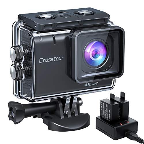Crosstour Action Cam CT9500, 4K/50FPS 20MP WiFi EIS Stabilizzata Videocamera, Fotocamere Subacque Impermeabile 40M, 2 Batterie 1350 mAh con 19 Accessori Grandangolo Regolabile 170