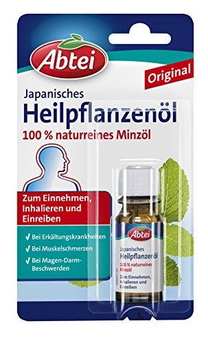 Abtei Japanisches Heilpflanzenöl - 100% naturreines Minzöl zum Einnehmen, Inhalieren und Einreiben - bei Erkältung, Magen-Darm-Beschwerden und Muskelschmerzen - 1 x 10ml