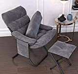 Whixori Portable Recliner Folding Chair, Home Simple lazy computer chair living room dorm bedroom sofa college student dorm balcony chair Travel Chair Kneeling Chair(Color : Gray)(WX-01)