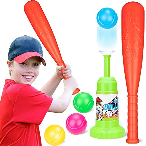 Tball Set Toy Automatic Baseball Launcher with 4 Balls&1 Power Bat Ball Toddler Toys Game Set for Outdoor Garden Backyard Beach for Ages 3 and Up