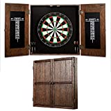 Barrington Billiards Webster Bristle Dartboard Cabinet Set: Professional Hanging Classic Sisal Dartboard with Self Healing Bristles and Accessories - 6 Steel Tip Darts, Dark Wood (DRB100_237B)
