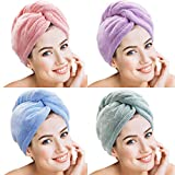 4 Pièces Serviette de Cheveux en Microfibre Serviette de Cheveux Envelopper Turbie...
