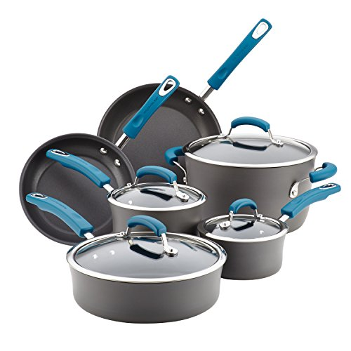 Rachael Ray Brights Hard Anodized Nonstick Cookware Pots and Pans Set