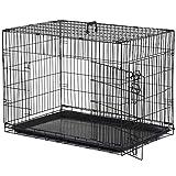 Pawhut Cage Caisse de Transport Pliante pour Chien en métal Noir 91 x 61 x...