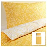 Ikea Akertistel 2pc Twin Duvet Quilt Cover 100 Percent Cotton Yellow / White