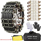 AutoChoice 6 Packs Car Snow Chains Emergency Anti Slip Tire Chains with Thickened Manganese Steel for Truck SUV in Snow, Ice, Sand and Mud(Tire Width 235-285mm)