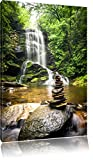 Pierres Zen Devant la Cascade Photo sur Toile   Taille: 60x40 cm   Peinture Murale  ...