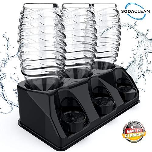 SODACLEAN® Premium 3er Flaschenhalter aus Kunststoff schwarz Hochglanz   Abtropfhalter für SodaStream Aarke Emil Flaschen inkl. Deckelhalterung   Abtropfgestell spülmaschinenfest   Crystal Easy Power