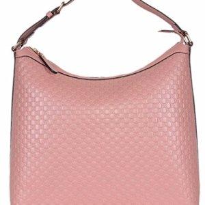 Gucci Women's Micro GG Guccissima Leather Hobo Handbag (449732/Soft Pink) 37