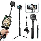 AFAITH Wasserdichte Selfie Stick Stativ Verlängerung Aluminiumlegierung Handgriff Teleskop Handheld Selfie-Stangen für GoPro Hero 8 Hero7 Black Hero 6/5 iPhone XS Max/XS/X/8 Plus Samsung Galaxy S9