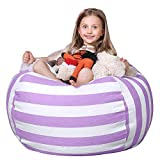WEKAPO Stuffed Animal Storage Bean Bag Chair Cover for Kids   Stuffable Zipper Beanbag for Organizing Children Plush Toys   38' Extra Large Premium Cotton Canvas