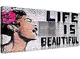 Impression sur toile La vie est belle Banksy Graffiti Street Art Noir Blanc Rose–Wallfillers