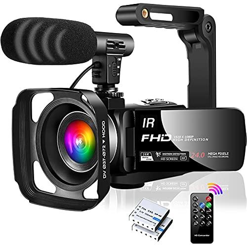 Caméra Vidéo Caméscope FHD 1080P 30FPS Camescope de IR Vision Nocturne 16X Zoom Numérique Vlogging Caméra pour Youtube Écran Flip IPS 3.0 'à 270 Degrés avec Microphone, Parasoleil, Stabilisateur