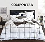 CLOTHKNOW White Plaid Comforter Sets Queen Black and White Bedding Comforter Sets Full for Boys Girls Women Men Big Grid Print 3Pcs White Comforter Sets with 2 Pillowcases (3Pcs, Queen/Full Size)