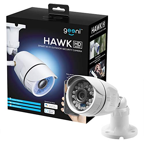 Geeni Hawk HD, Wi-Fi Outdoor Smart Wireless Security Camera with Night Vision, Motion Alerts, Works with Alexa and Google Assistant,1080p